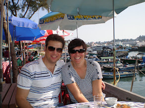 Photo: Scott and Suzanne and a cute fishing village on one of the islands