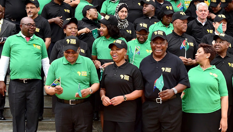 President Jacob Zuma (front left), Deputy President Cyril Ramaphosa (front, second right) and  ministers and deputy ministers celebrate Africa Day 2017.  Picture: GCIS