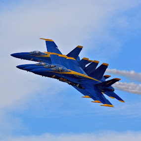 Blue Angels by Jarrod Unruh - Transportation Airplanes ( blue sky, blue, performance, airplane, aircraft, navy, jet, airshow, military,  )