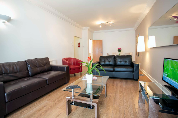 Living room at IFSC Mayor Street apartment