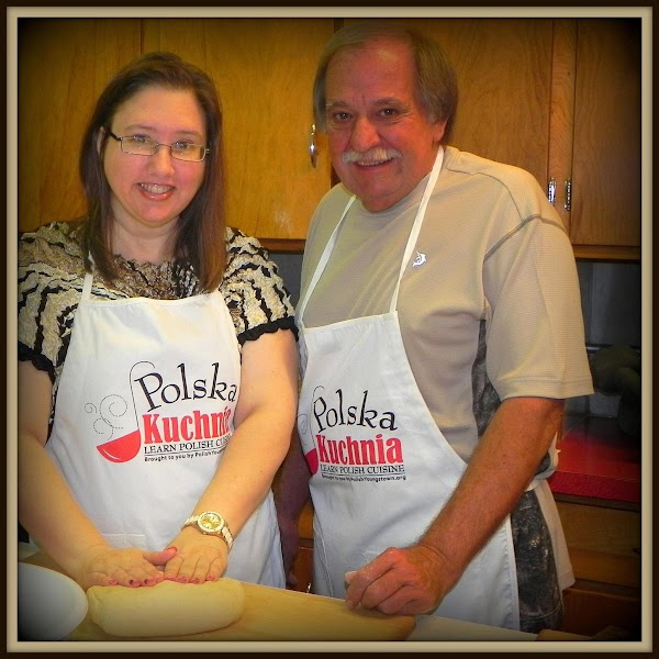 Here is a pic of Dad & I getting ready to stuff our pierogies....