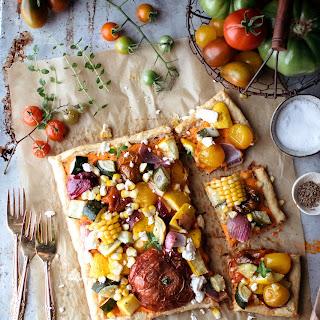 Garden Tart With Roasted Red Pepper & Feta Spread
