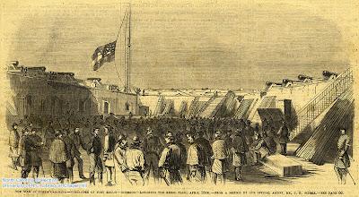 "Photo: ""Surrender of Fort Macon -- interior -- lowering the Rebel flag."" Frank Leslie's Illustrated Newspaper, May 17, 1862, p. 49."