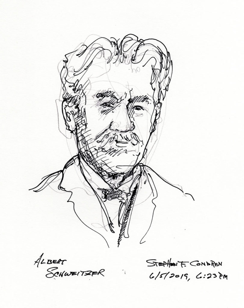Pen & ink drawing of Dr. Albert Schweitzer by Condren