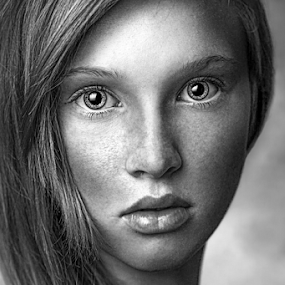 Confusion b&w by Miroslav Potic - Black & White Portraits & People ( eye, art, beau, black and white, girl,  )