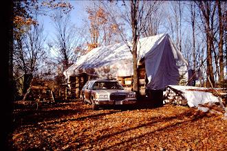 Photo: Cabin tarped. (Fall 1995)