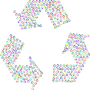 The symbol for recycling made up of smaller symbols for recycling.
