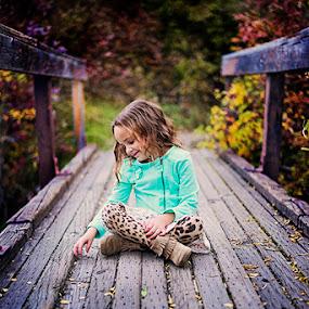 The wish by Mike Ritchie - Babies & Children Child Portraits ( child, girl, wish, blue, happy, bridge, smile )