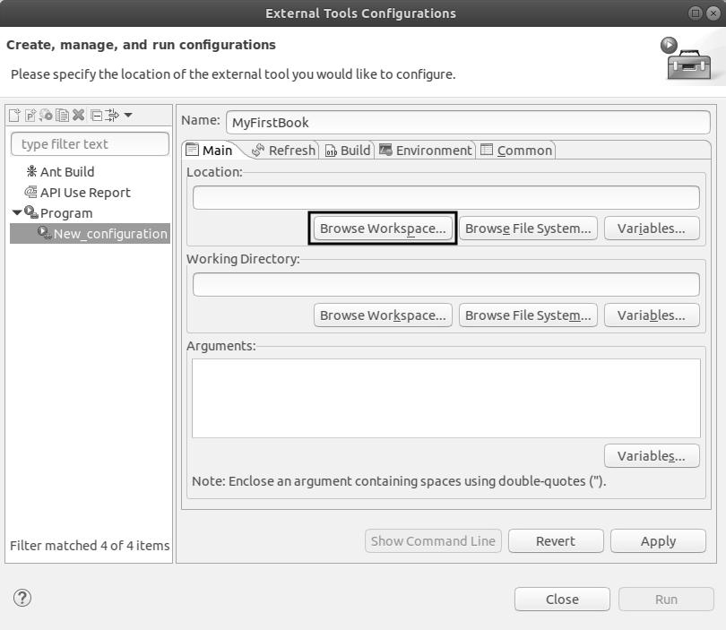 Exteranl Tools Configurations Start