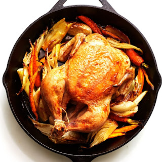 Cast-Iron Roast Chicken with Fennel and Carrots.