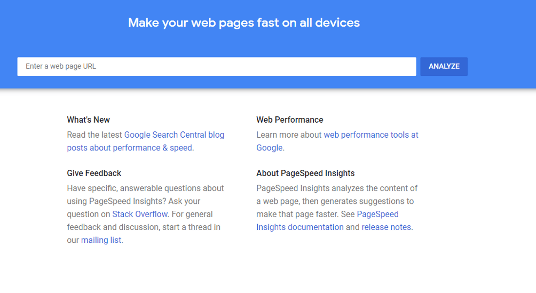 pagespeed insights core web vitals testing