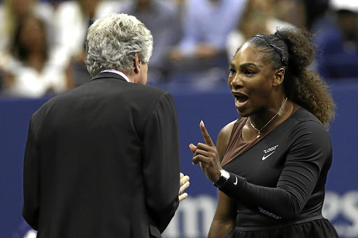 Penalties: Serena Williams argues with referee Brian Earley. Picture: MATTHEW STOCKMAN/GETTY IMAGES