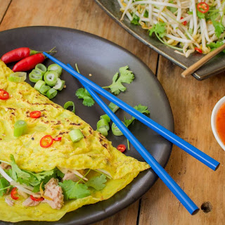 Rice Pancakes with Tuna and Beansprouts Recipe