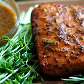 Cedar Plank Salmon with Mustard Soy Glaze.
