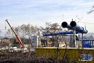 Photo: Hier wurden Bäume im FFH Landschaftsschutzgebiet Rosensteinpark zugunsten der Verlegung blauer Rohre geopfert