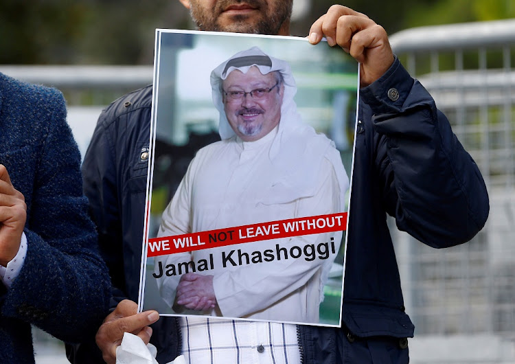 A demonstrator holds a picture of Saudi journalist Jamal Khashoggi during a protest at the Saudi Arabians consulate in Istanbul, Turkey, October 5 2018. Picture: REUTERS/OSMAN ORSAL