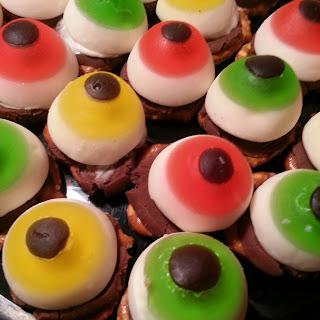 Chocolate Pretzel and Eyeball Candies.