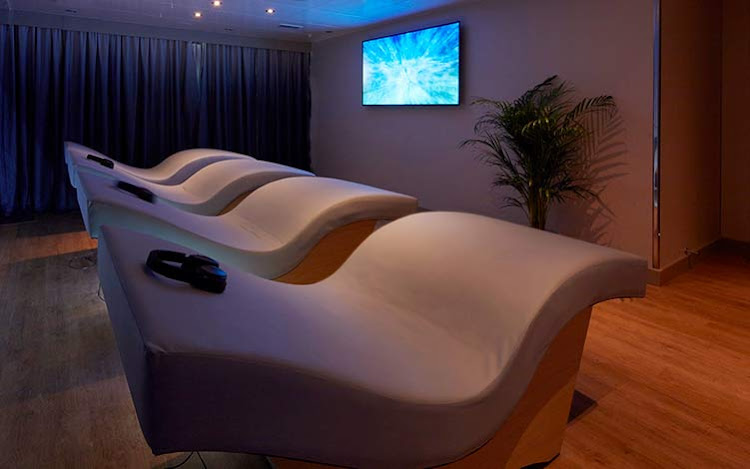 The meditation room with acoustic resonance loungers in the Mareel Wellness & Beauty Spa on Queen Elizabeth.
