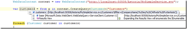 shows mouseover of query