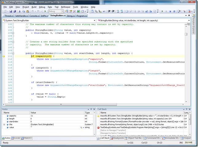 screen shot of .NET Framework integration