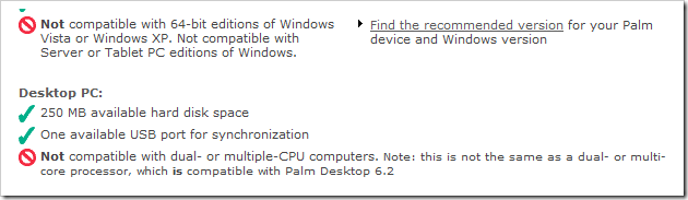 Palm software disclaimer 1