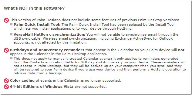 Palm software disclaimer 2