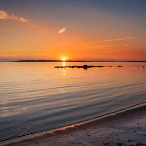 Sunset at the Beach by Mats Andersson - Landscapes Sunsets & Sunrises ( red sky, sunset, calm sea, beach, sun,  )
