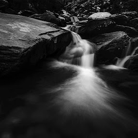 Make Your Own Way! by Ankur Chaturvedi - Landscapes Waterscapes ( hills, waterscape, black and white, waterfall, india, travel )