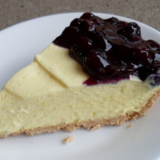 Lemon Cream Pie with Blueberry Topping.