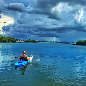Calm before the storm  by Evah Banova - Sports & Fitness Watersports ( clouds, water, reflection, storm, kayak,  )