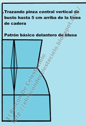 Trazando pinza vertical en patrón delantero de blusa o vestido