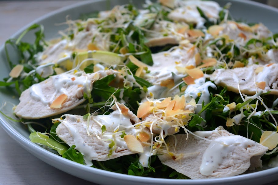 poached chicken salad with creamy lemon dressing @Safranaargana