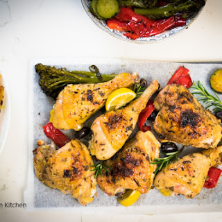 Roast Herb-chicken Dinner With Roasted Vegetables And Potatoes