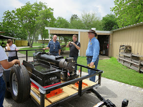 Photo: New member, Ron Pasley, new member, and Doug Blodgett, with Doug's trailer and loco, ready for a meet.    HALS Public Run Day 2015-0418 RPW