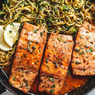 Lemon Garlic Butter Salmon with Zucchini Noodles.