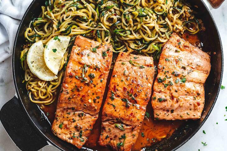 Lemon Garlic Butter Salmon with Zucchini Noodles Recipe