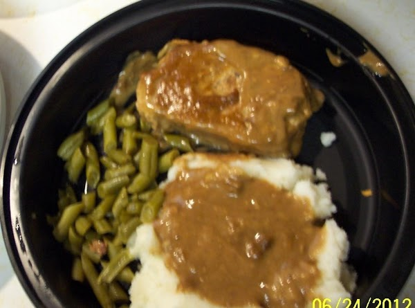 Make the mashed potatoes. Cook the green beans. ..set both aside. Remove the pork chops.
