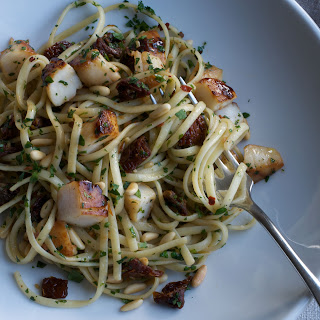 Linguine with Scallops, Sun-Dried Tomatoes, and Pine Nuts.