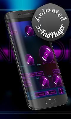 Neon pink Poweramp Skin - screenshot