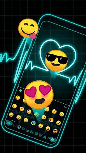 Neon Blue Love Heart Keyboard screenshots 3