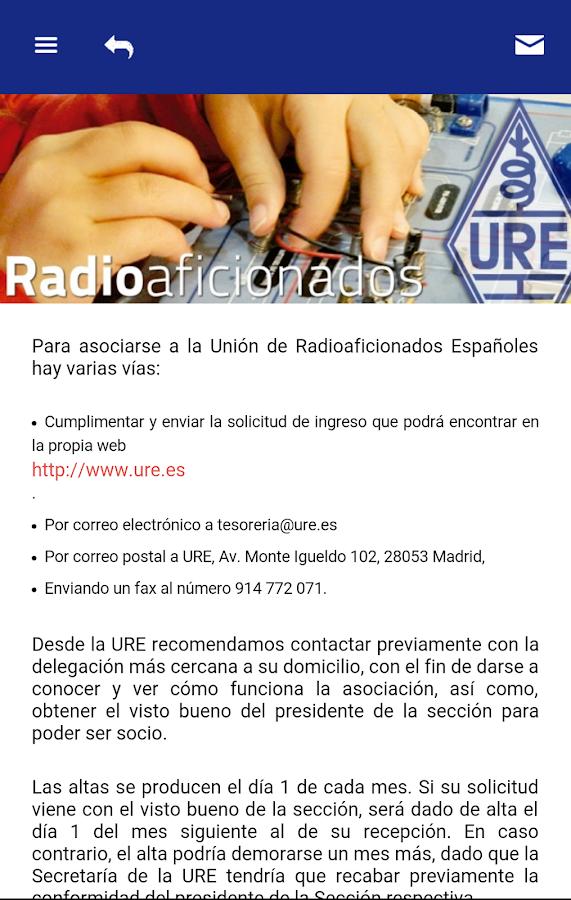 U. Radioaficionados Españoles: captura de pantalla