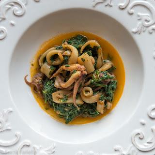Calamari in zimino (Squid Braised in Greens).