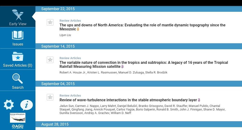 Reviews of Geophysics- screenshot