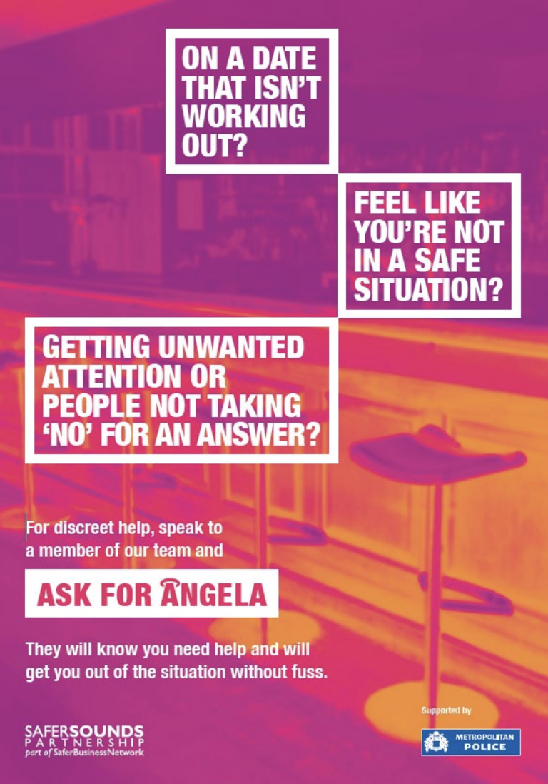 Poster from the U.K. for the Ask for Angela campaign.