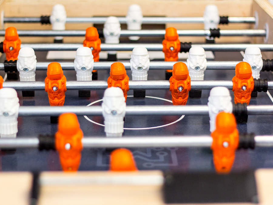 Foosball players, bumpers, handles and more; all 3D printed and all planned for.