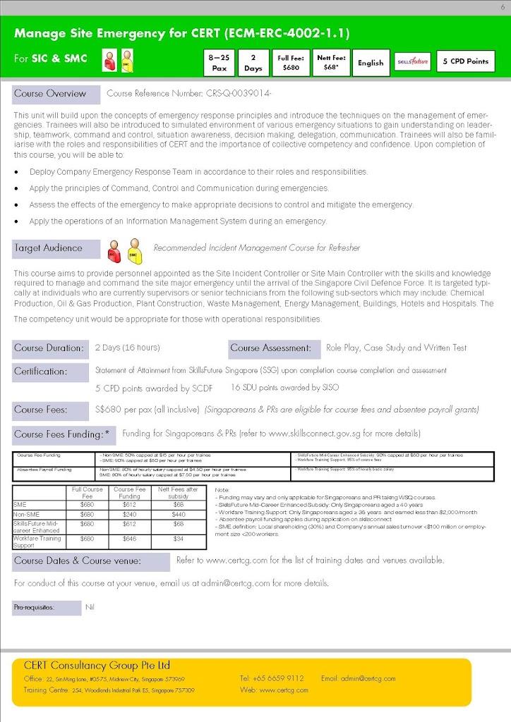 Manage Site Emergency for CERT - SkillsFuture Framework