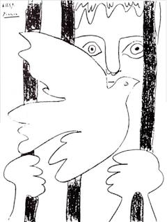 Picasso-Taube, Frau hinter Gitter.
