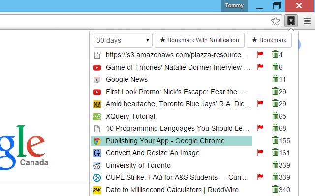 Temporary Bookmarks Screenshot