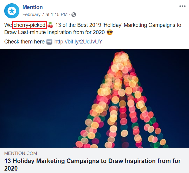 Screenshot of Mention's Facebook post with a food-related word and emoji.