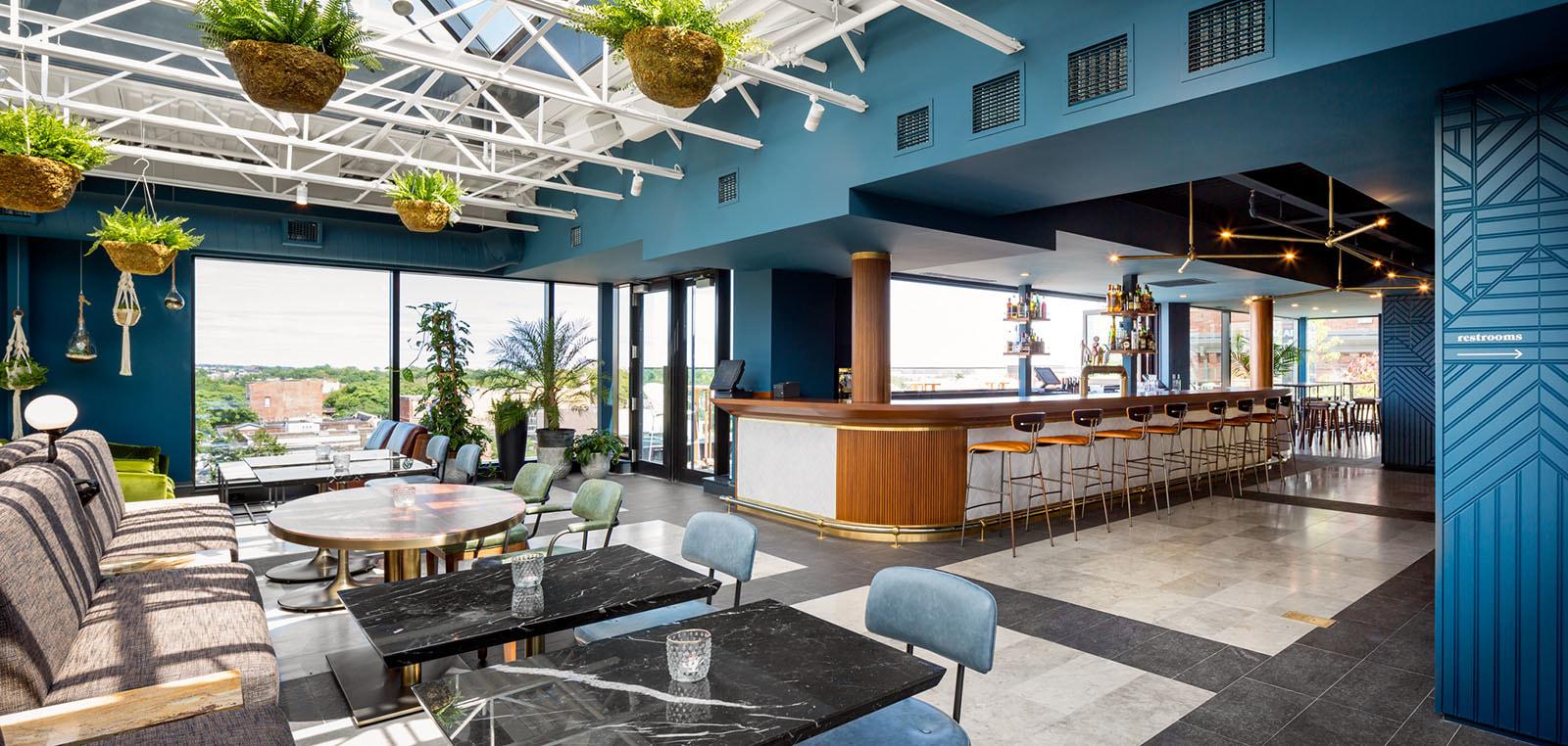 Blue hotel bar, natural lighting,